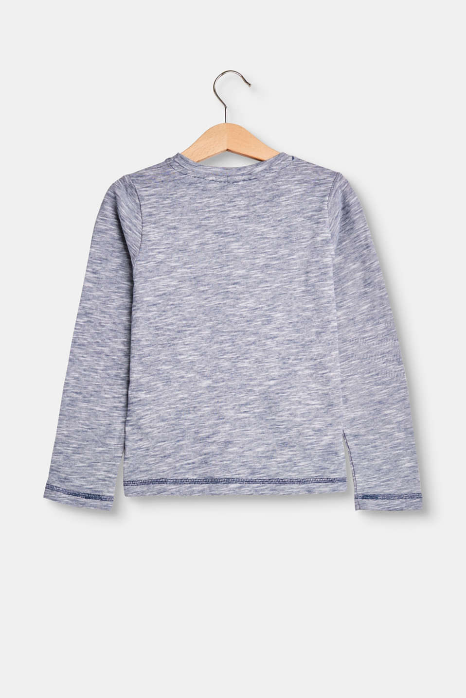 Melange long sleeve top in 100% cotton