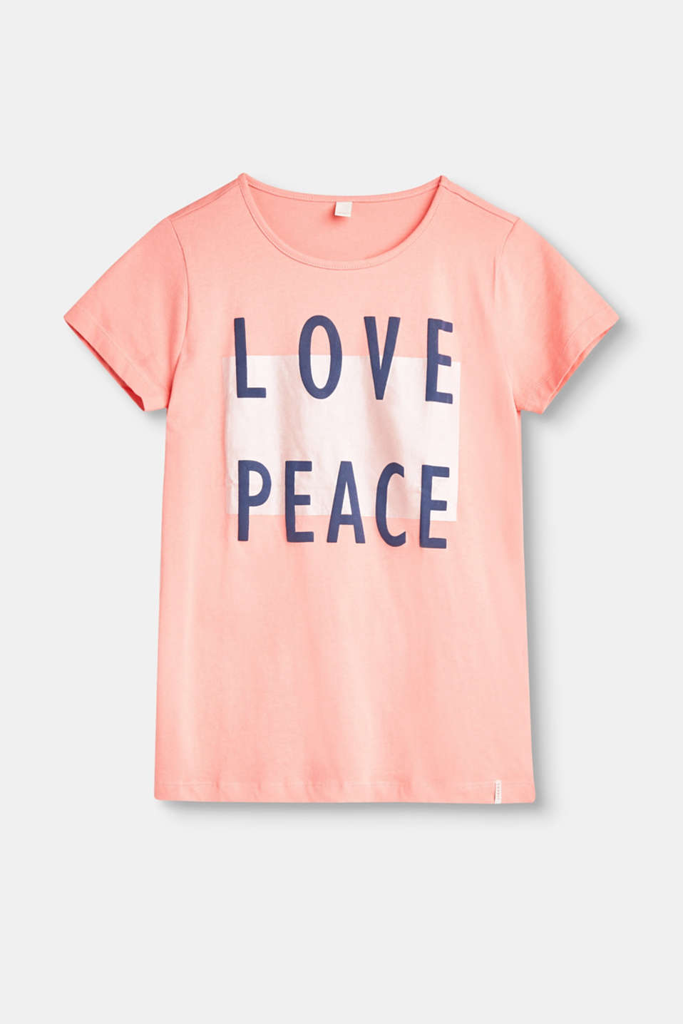 Love and Peace! The decorative statement on this T-shirt is particularly eye-catching against the glittering background.