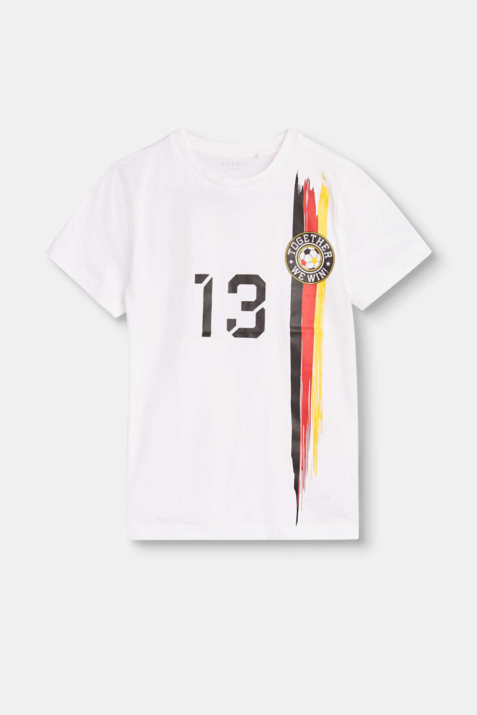 The ultimate fan T-shirt for children in a football shirt look with different national colours and a number print