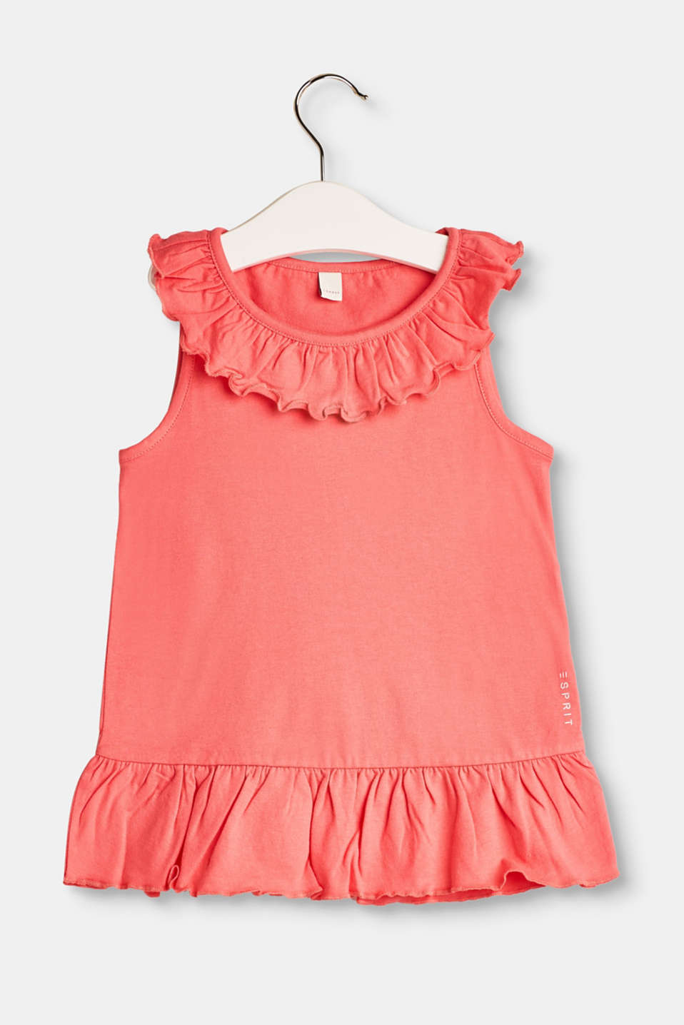 Esprit - Tank top with decorative frills, 100% cotton