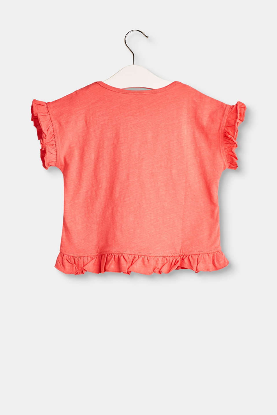 T-shirt with a 3D print and frills, 100% cotton