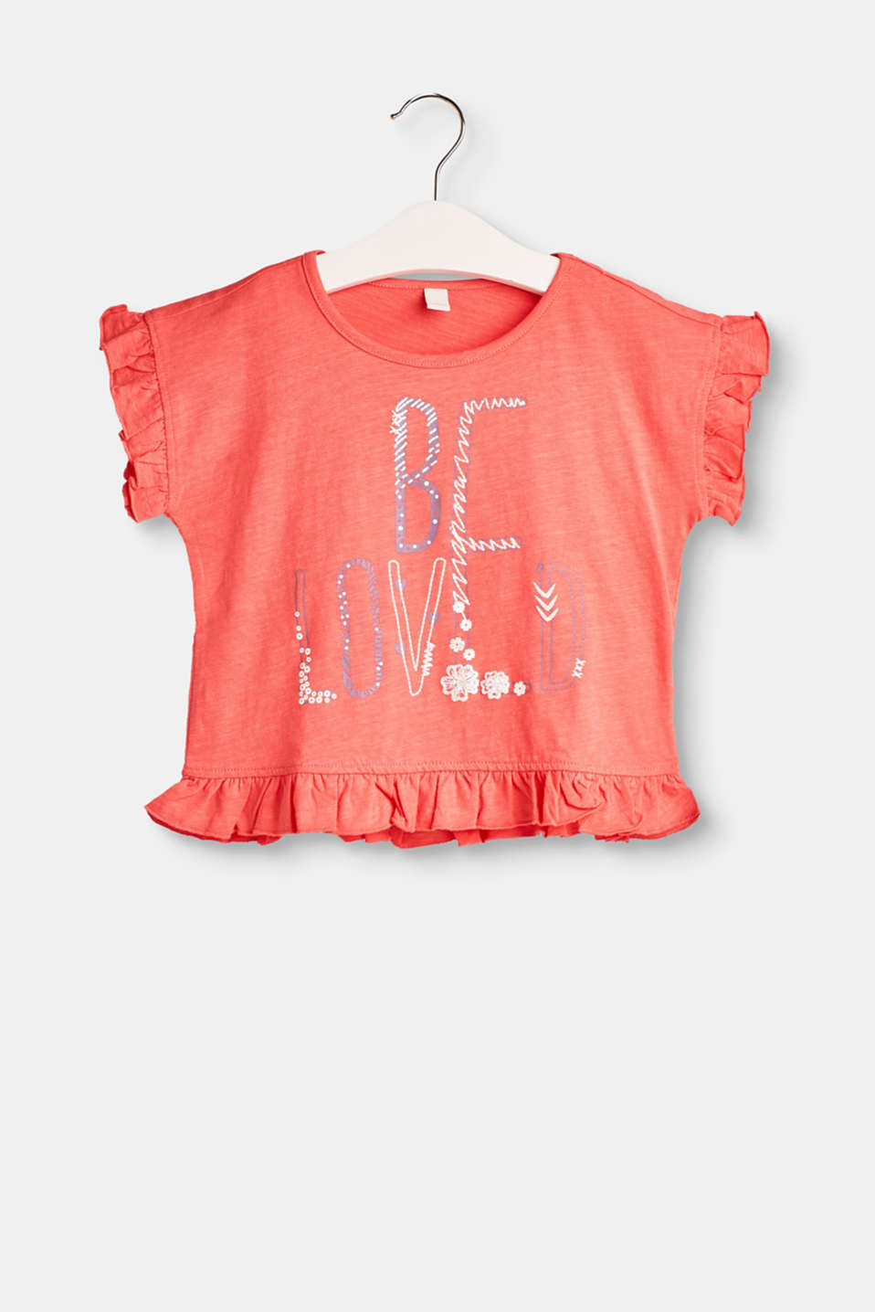 Esprit - T-shirt with a 3D print and frills, 100% cotton