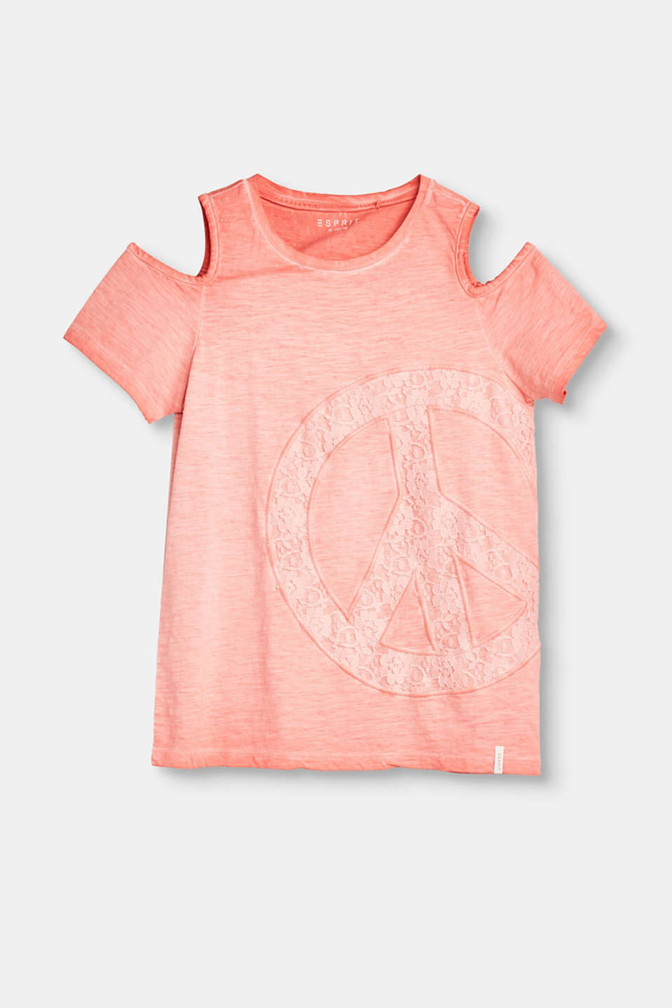 Zorgt in een handomdraai voor een modieuze hippie-uitstraling: dit slub jersey off-the-shoulder-T-shirt met een casual kleur en een peace-applicatie van kant.