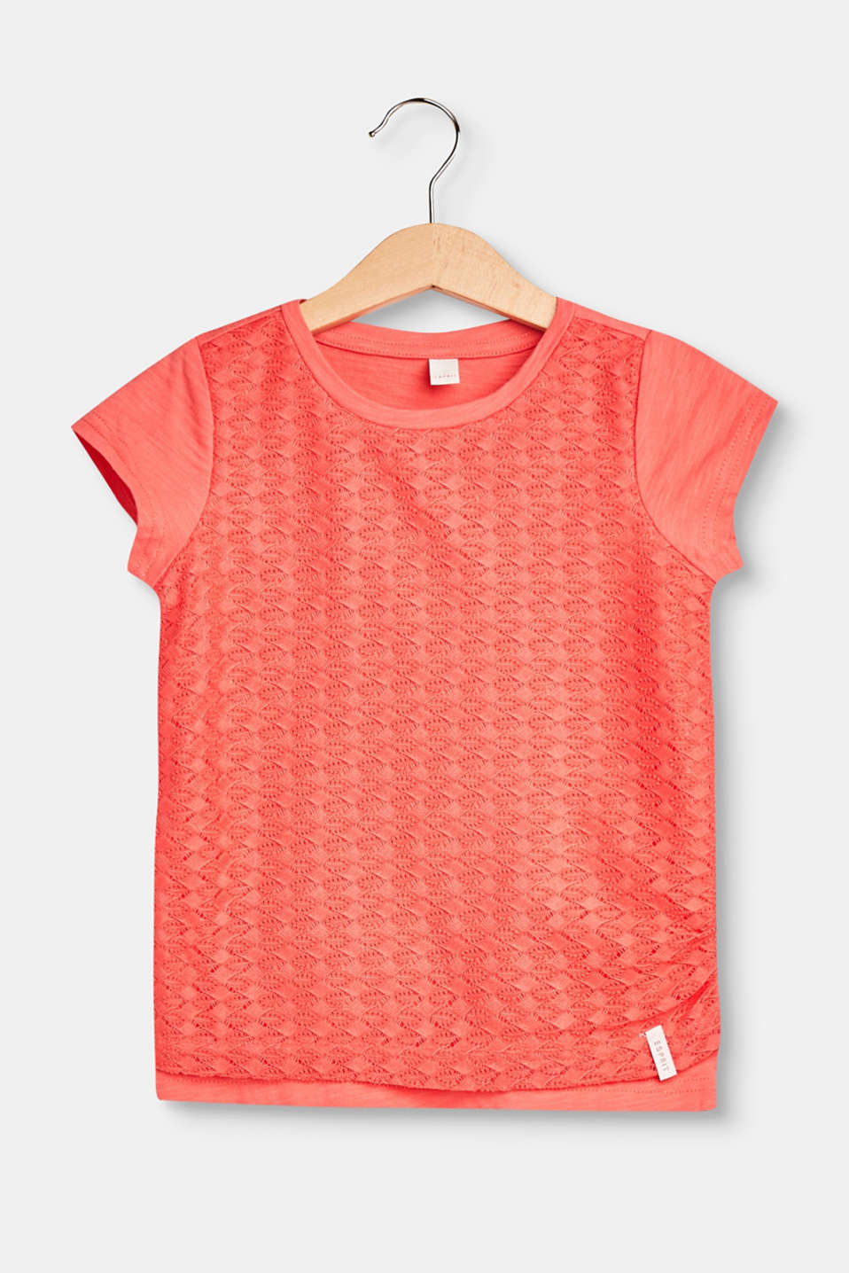 Esprit - Cotton T-shirt with a lace front