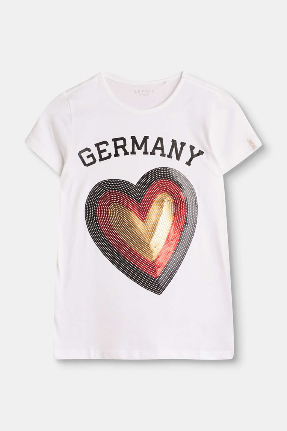 In this T-shirt with a shimmering heart appliqué and country print, kids can fly the flag for their team of choice.