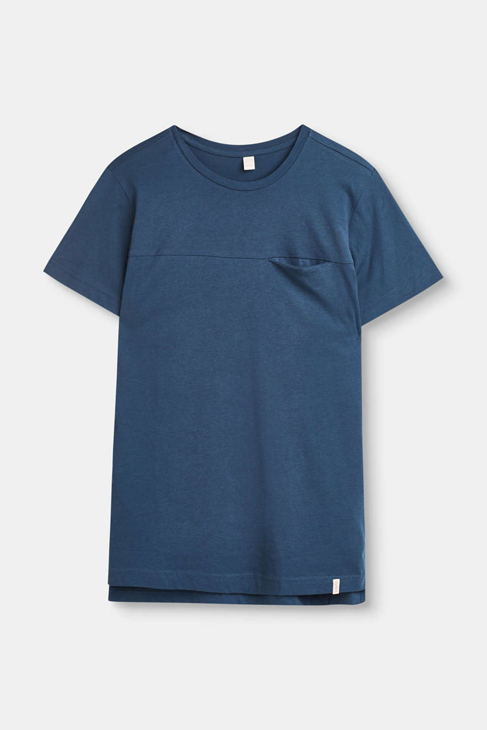 Esprit - T-shirt with a breast pocket, 100% cotton