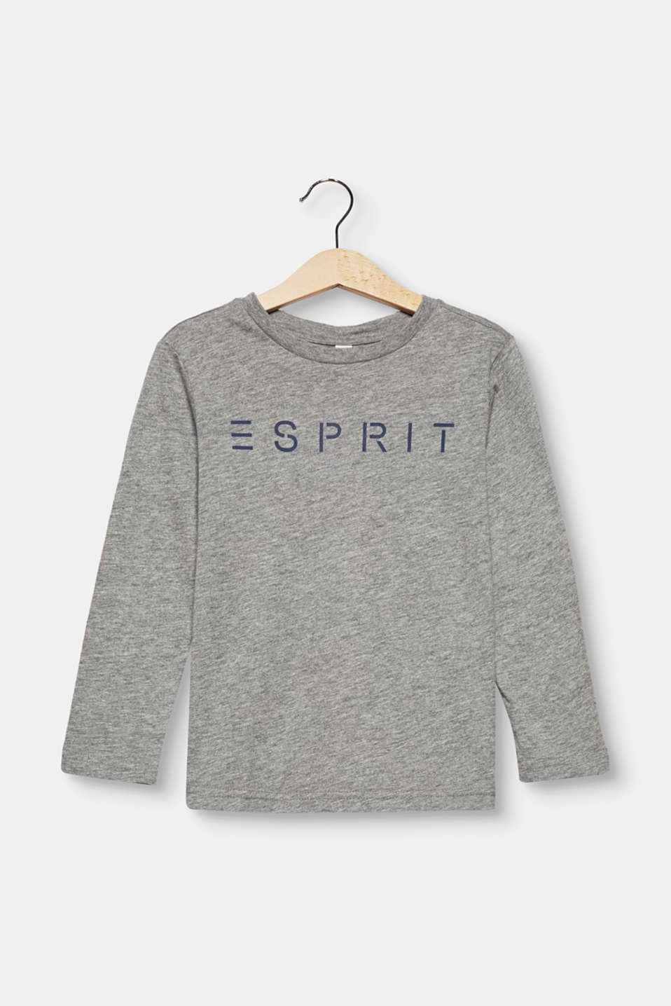 Esprit - Logo long sleeve top in melange jersey