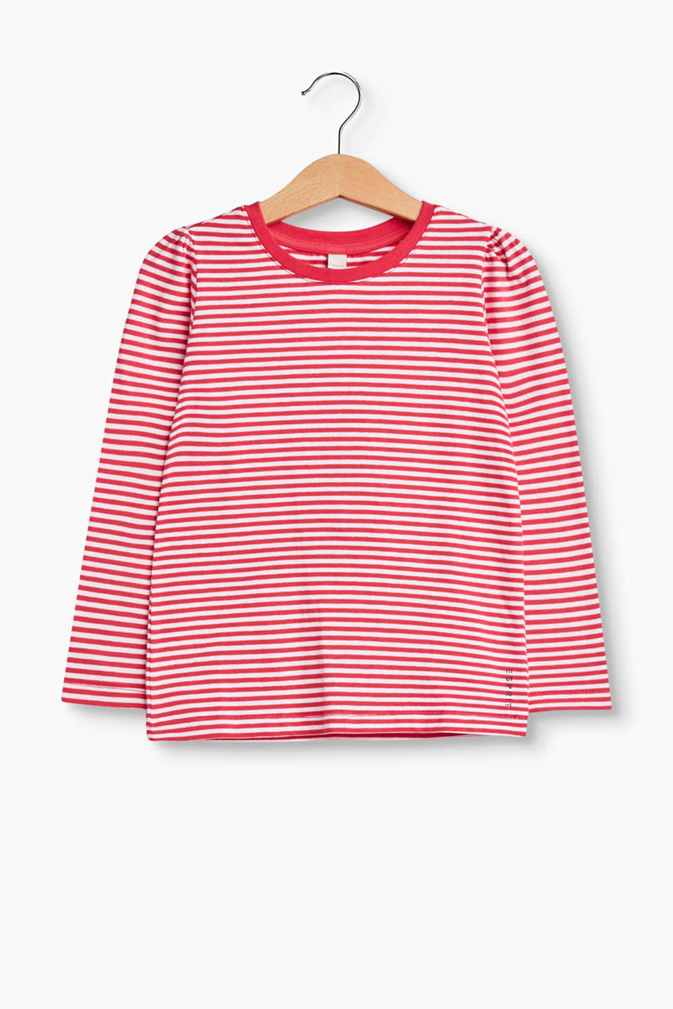 Esprit - Striped long sleeve top in stretch cotton