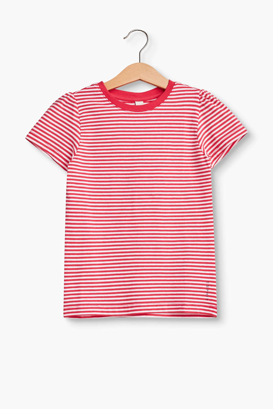 This T-shirt with a cheerful striped design and gathered sleeve joins is a wonderfully versatile basic piece.
