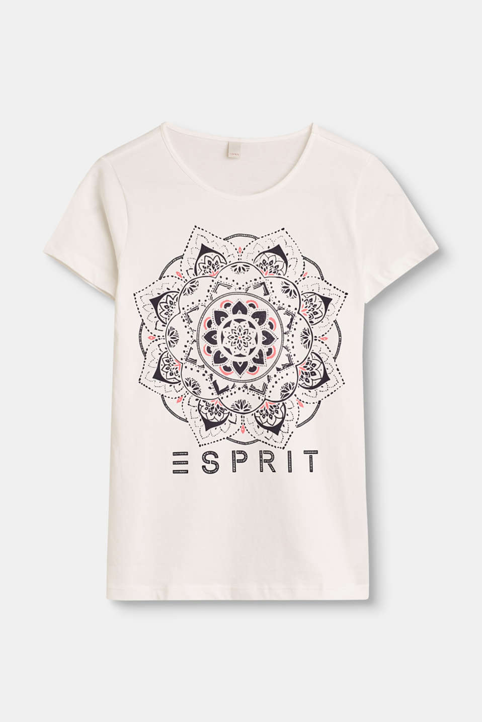 Esprit - T-shirt with a mandala print, 100% cotton