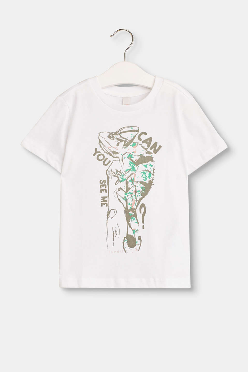 Colourful transformation artist: the comic style chameleon decorates this soft cotton top.