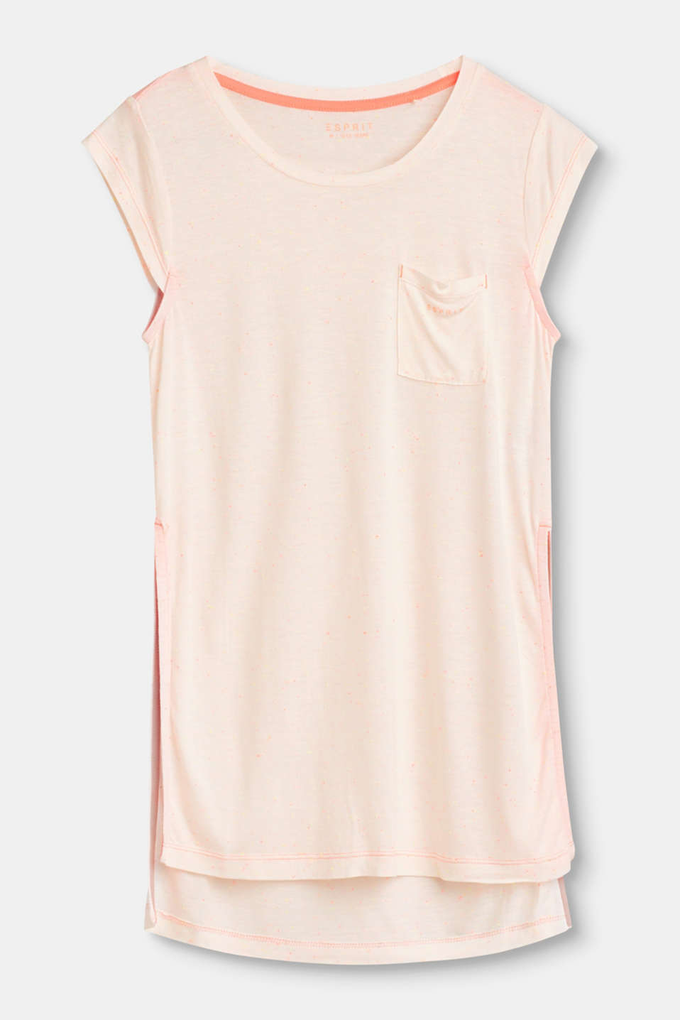 Esprit - Long, slit T-shirt with neon details