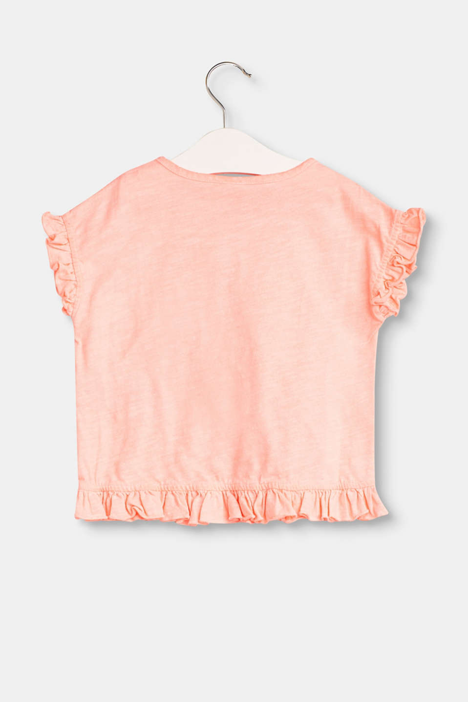 Casual T-shirt with frills, 100% cotton