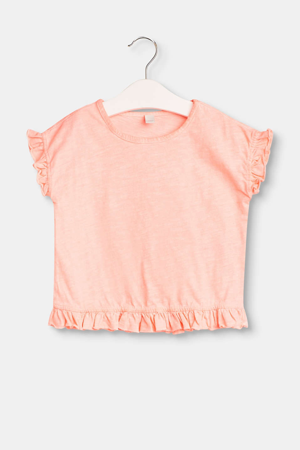 Esprit - Casual T-shirt with frills, 100% cotton