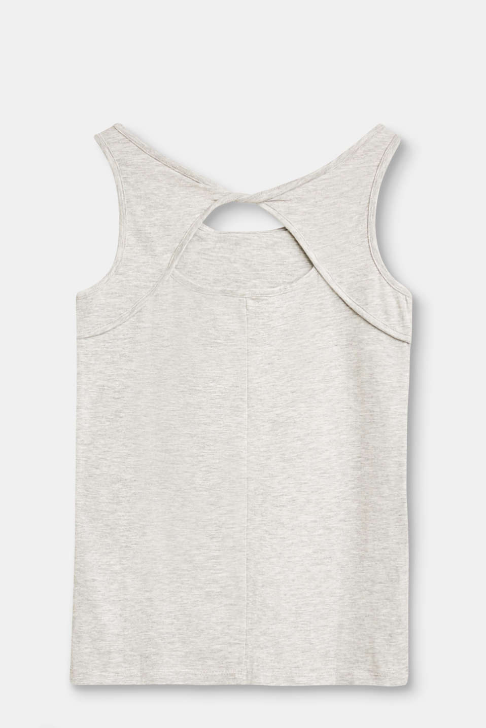 Cotton/modal vest with s striking back neckline
