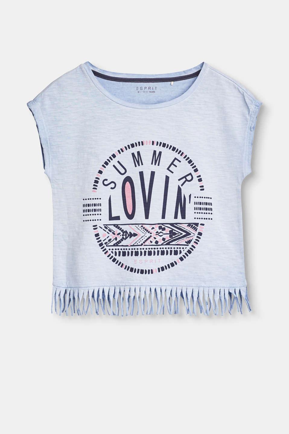 esprit kurzes baumwoll shirt mit fransen saum im online shop kaufen. Black Bedroom Furniture Sets. Home Design Ideas