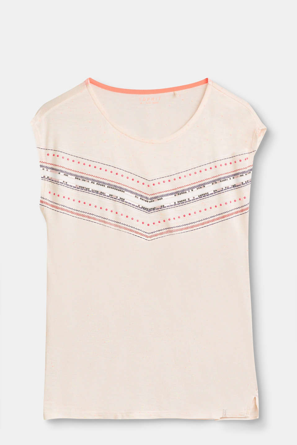 Esprit - Lightweight T-shirt with bright slubs and sequins
