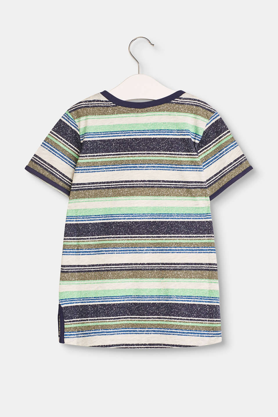 Striped top with a breast pocket