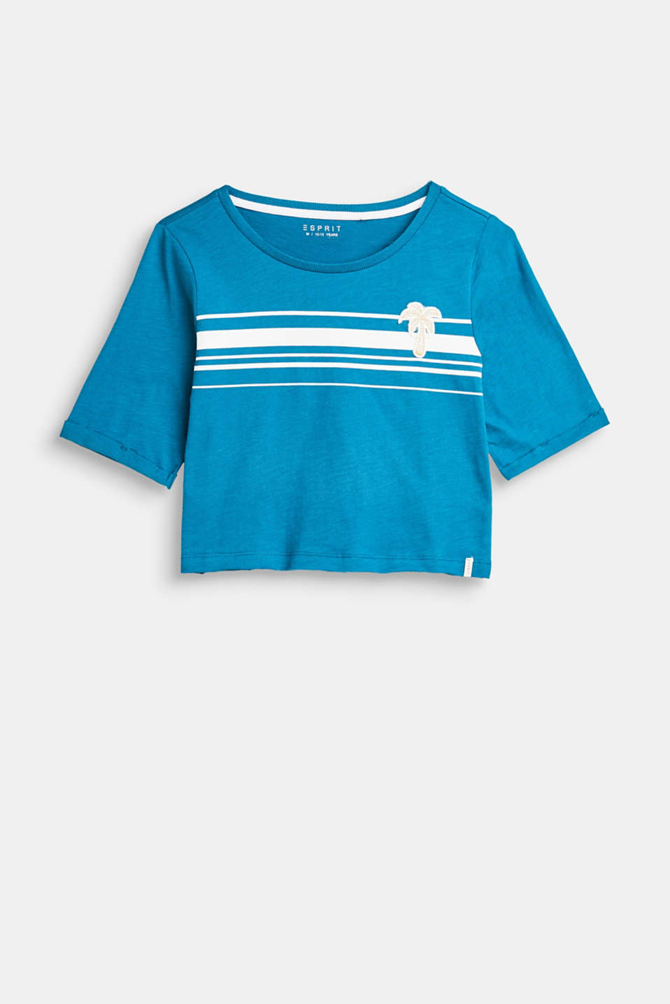Esprit - Cropped slub cotton T-shirt with stripes