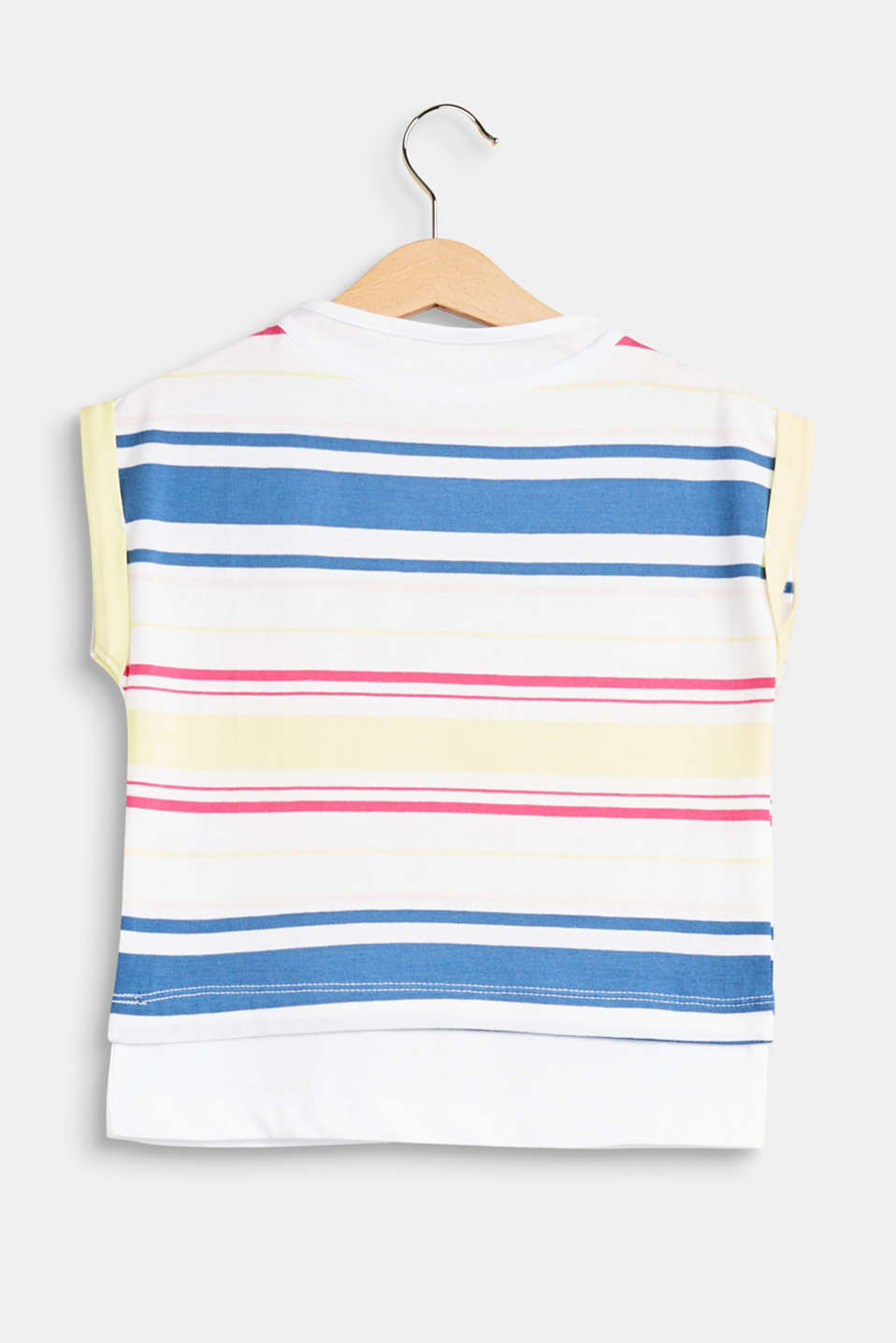 Striped T-shirt with a layered hem, 100% cotton