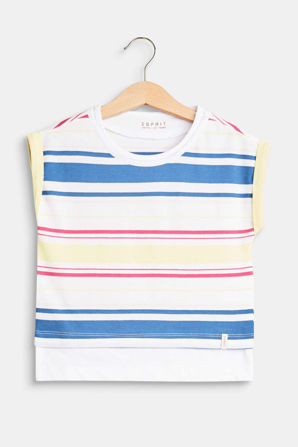 Esprit - Striped T-shirt with a layered hem, 100% cotton