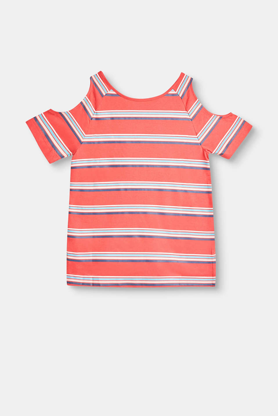 Striped cotton T-shirt with shoulder cut-outs