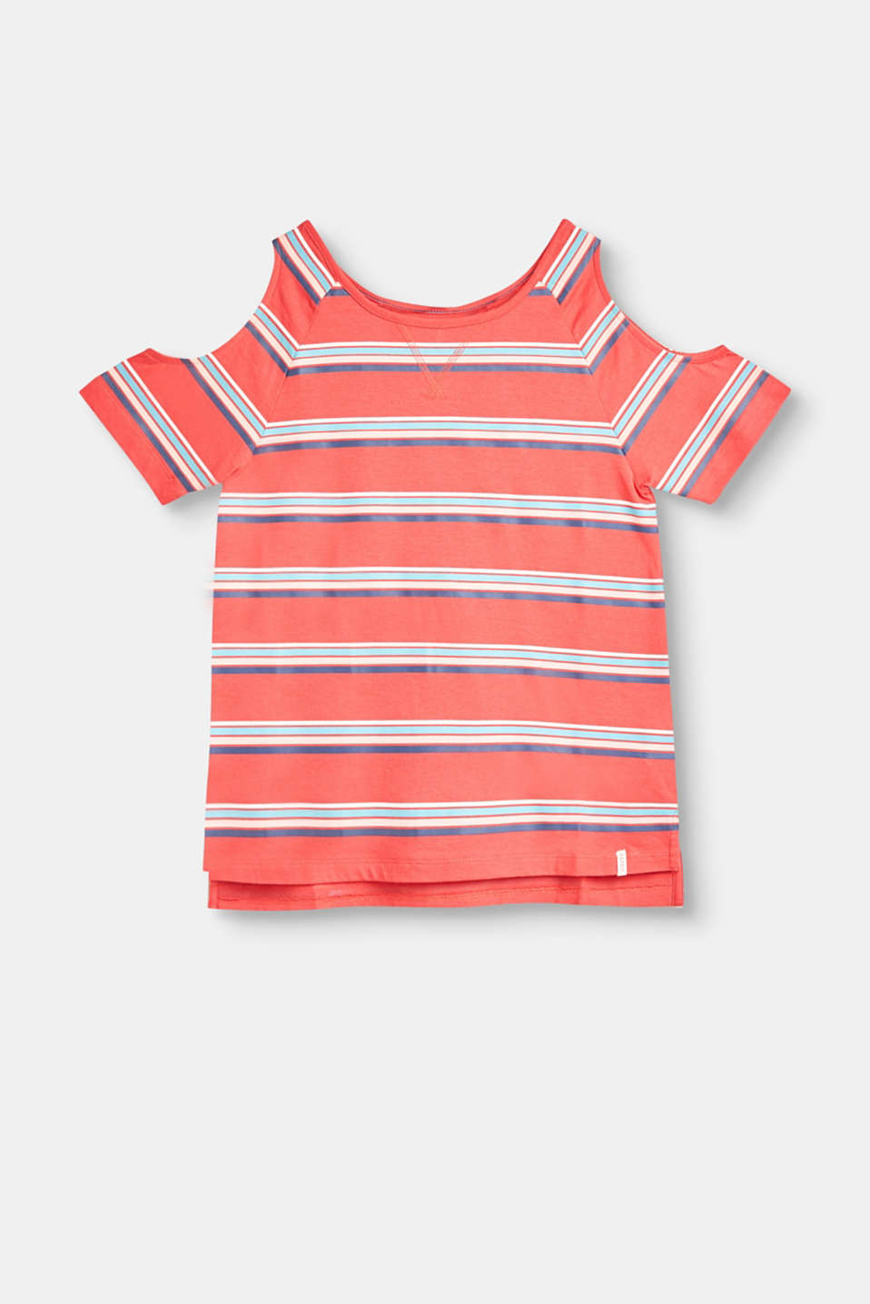 Esprit - Striped cotton T-shirt with shoulder cut-outs