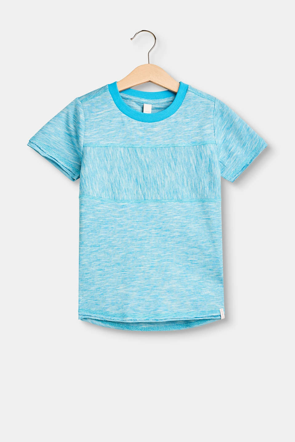 Esprit - Melange slub T-shirt with unfinished rolled edges