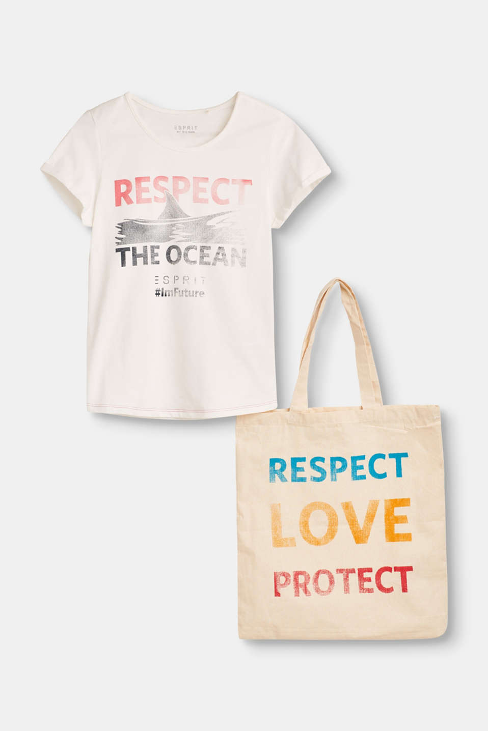 Respect, love, protect: this T-shirt and bag are true standard-bearers for sustainability and marine protection.