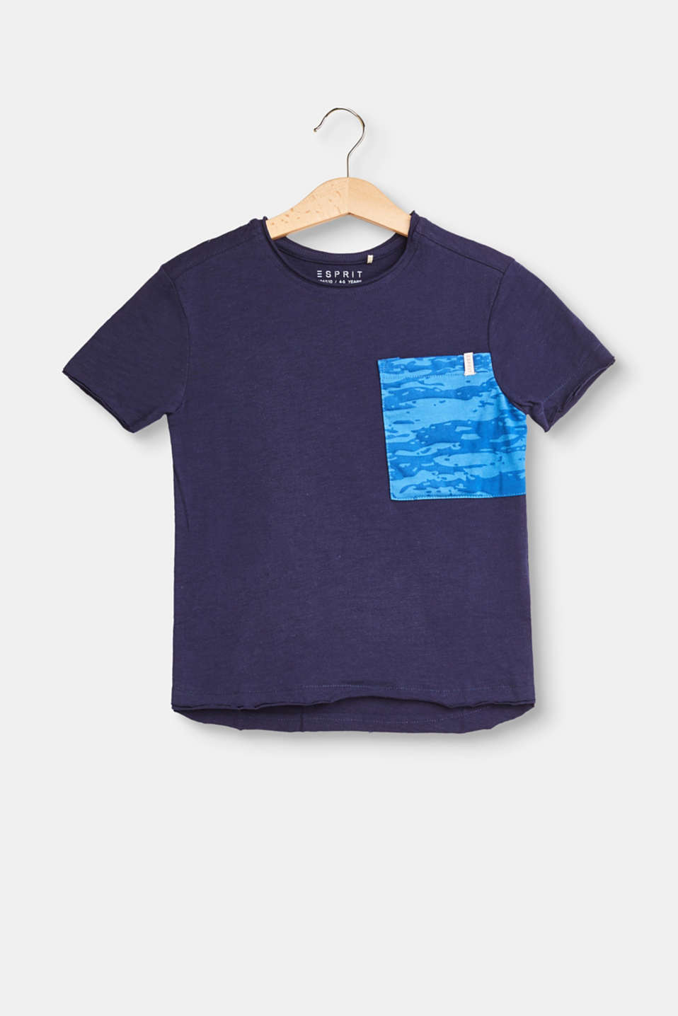 Esprit - Slub cotton T-shirt with a breast pocket