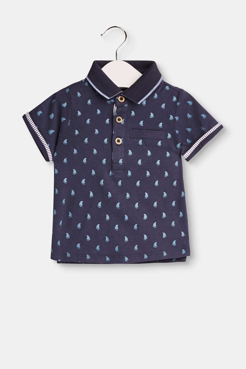 Esprit - Printed jersey polo shirt, 100% cotton