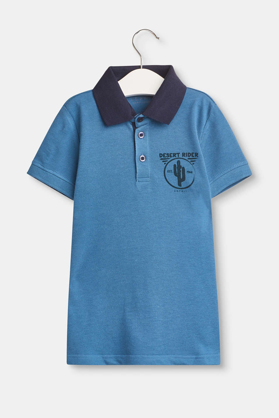 Esprit - Polo shirt in cotton piqué with a front print
