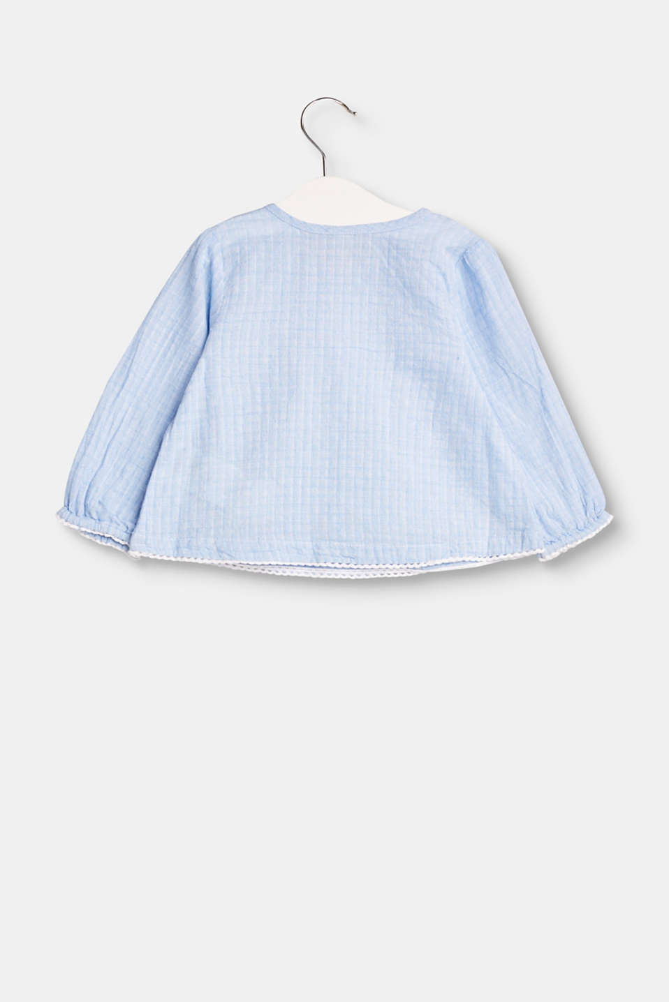 Textured cotton blouse with frills