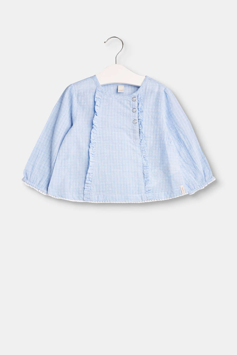 Esprit - Textured cotton blouse with frills