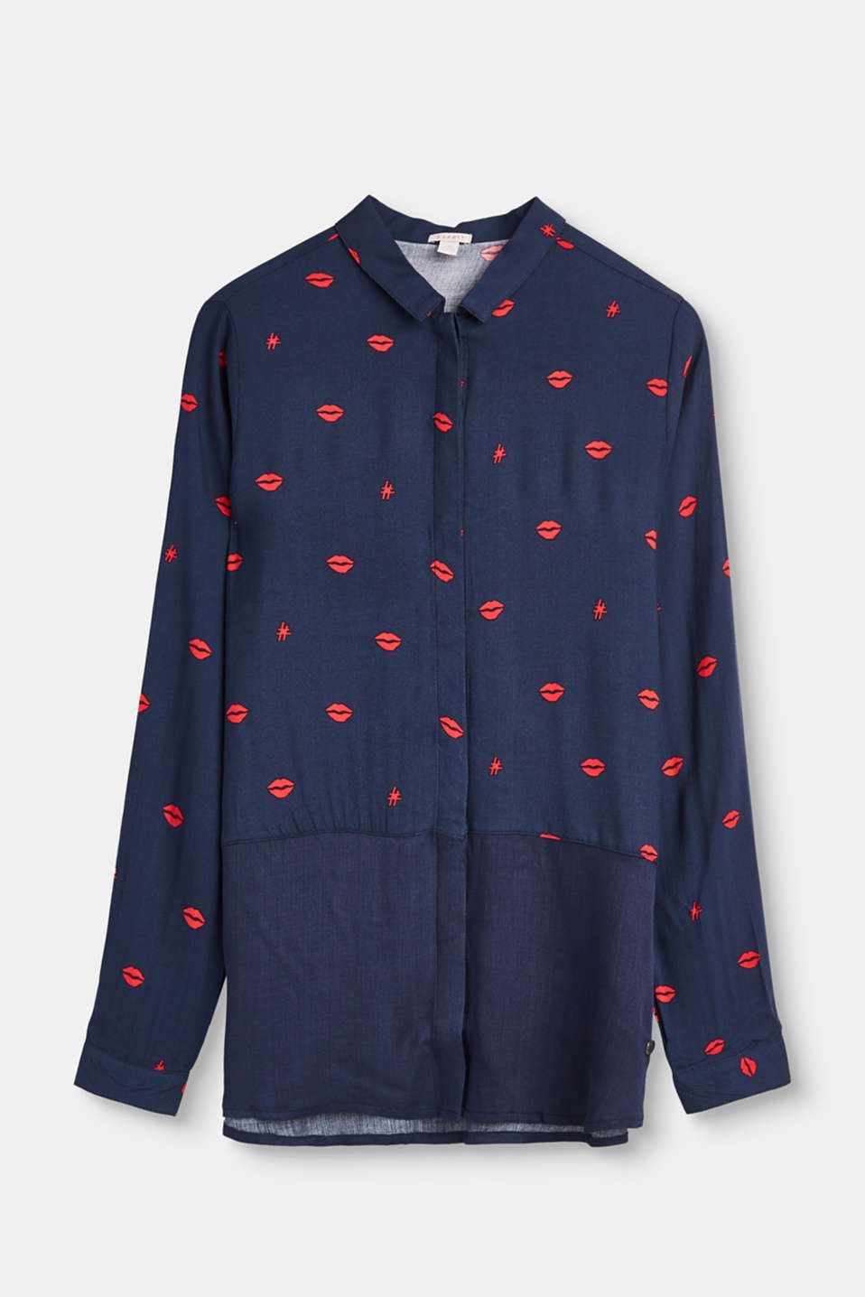 Esprit - Lightweight blouse with a lip print