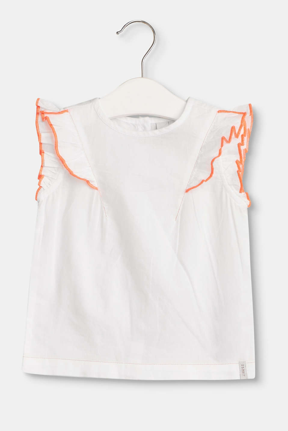 Esprit - Lightweight blouse with frilled sleeves, 100% cotton