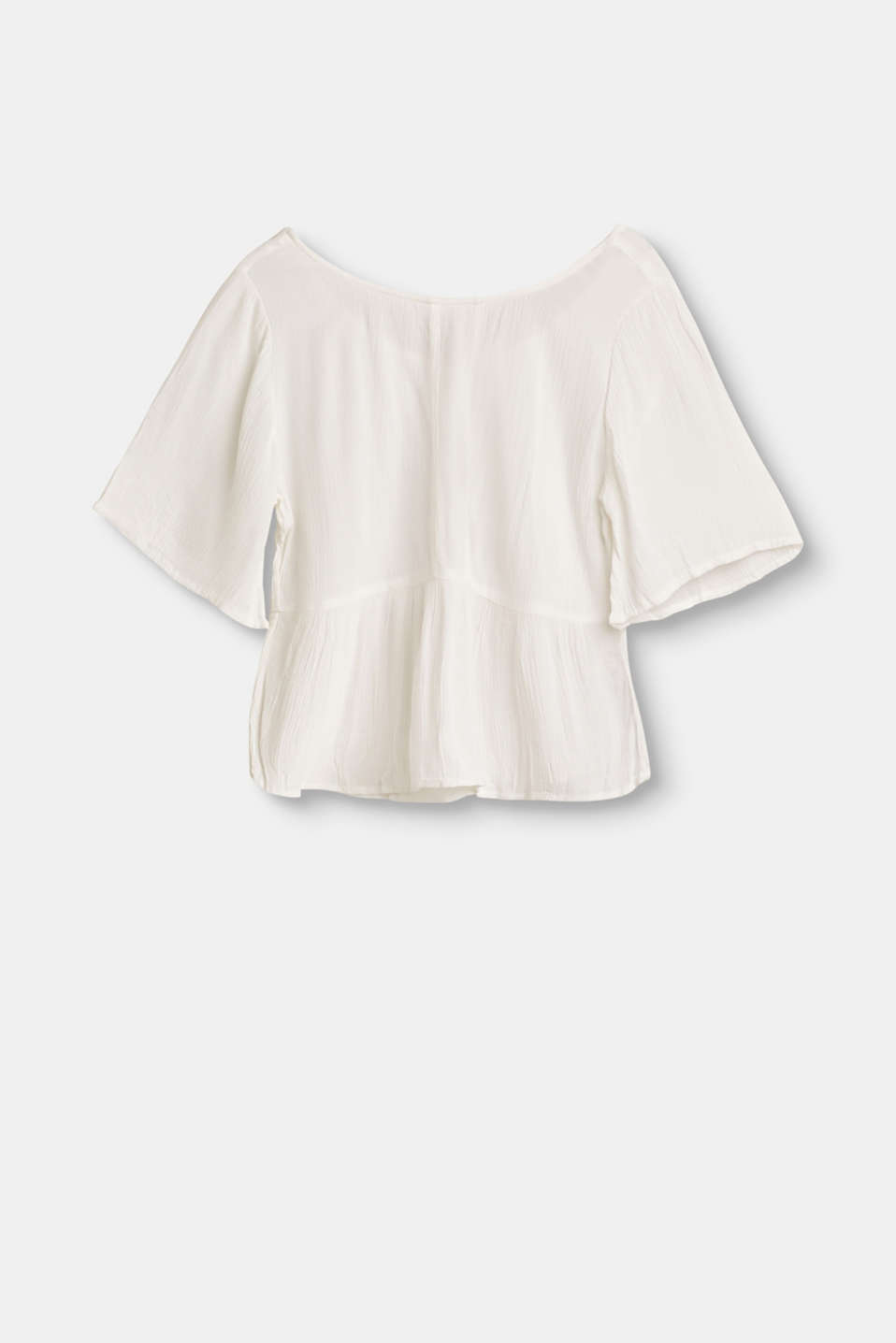 Flowing flounce blouse with crêpe texture