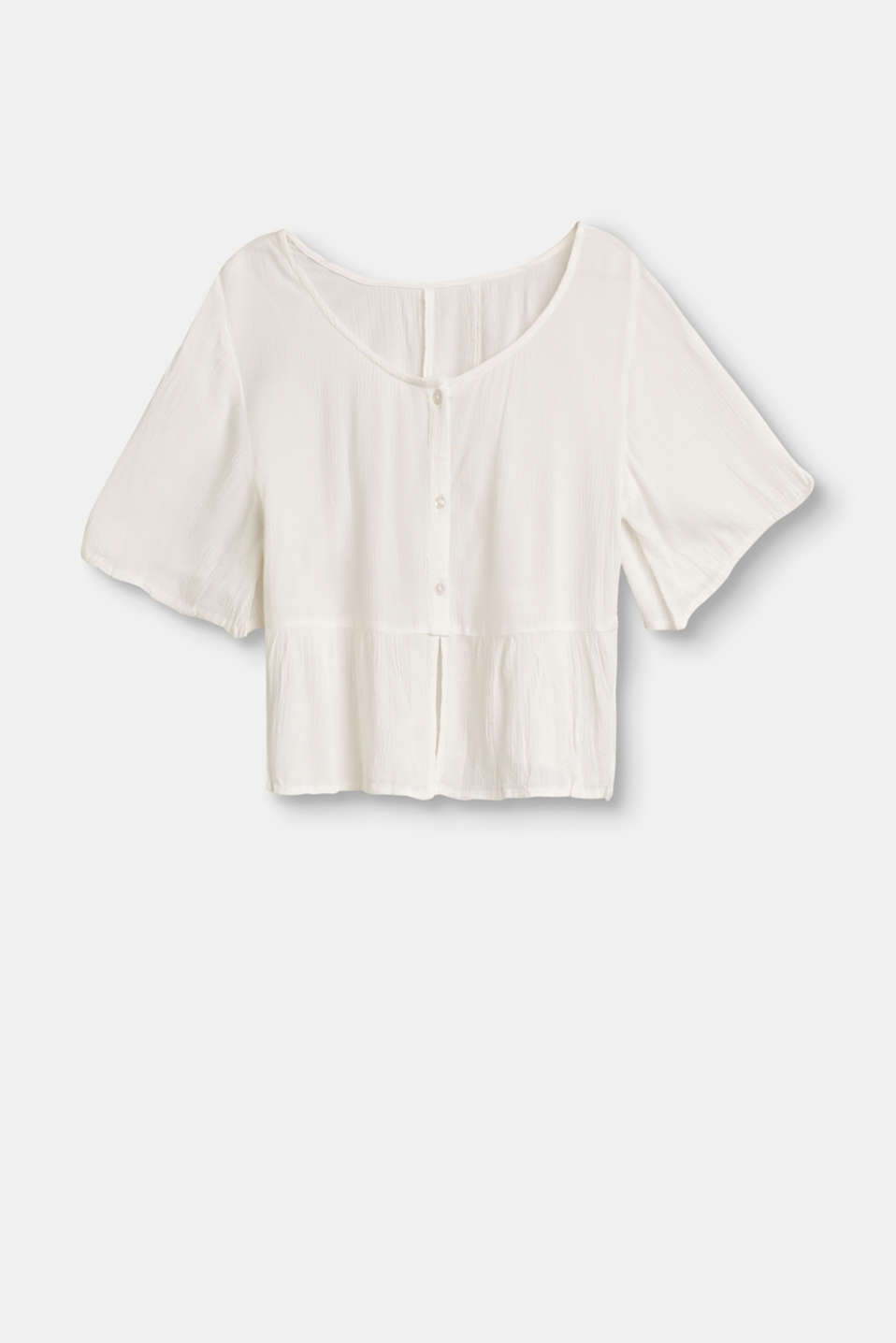 This airy, lightweight woven blouse with a flounce hem and button placket on the back is an absolute summer essential