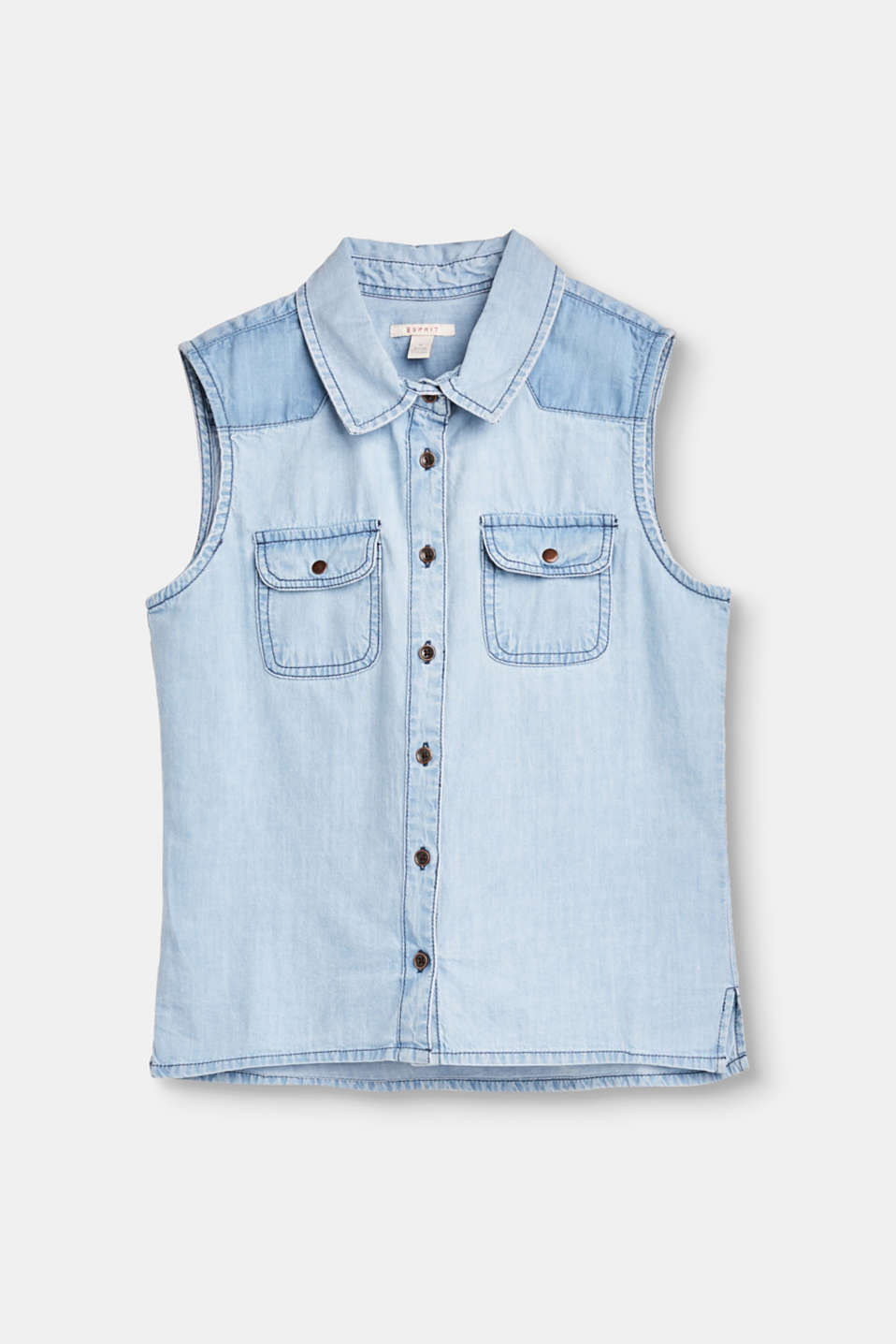This sleeveless, lightweight blouse in soft denim is the perfect separate for spring and summer.