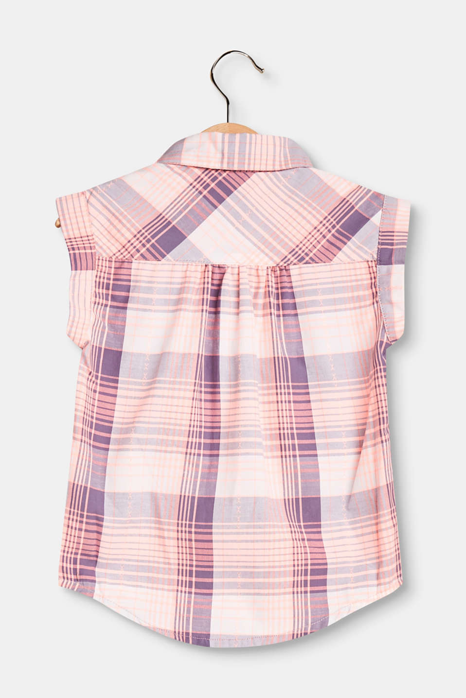 Sleeveless check blouse in blended cotton