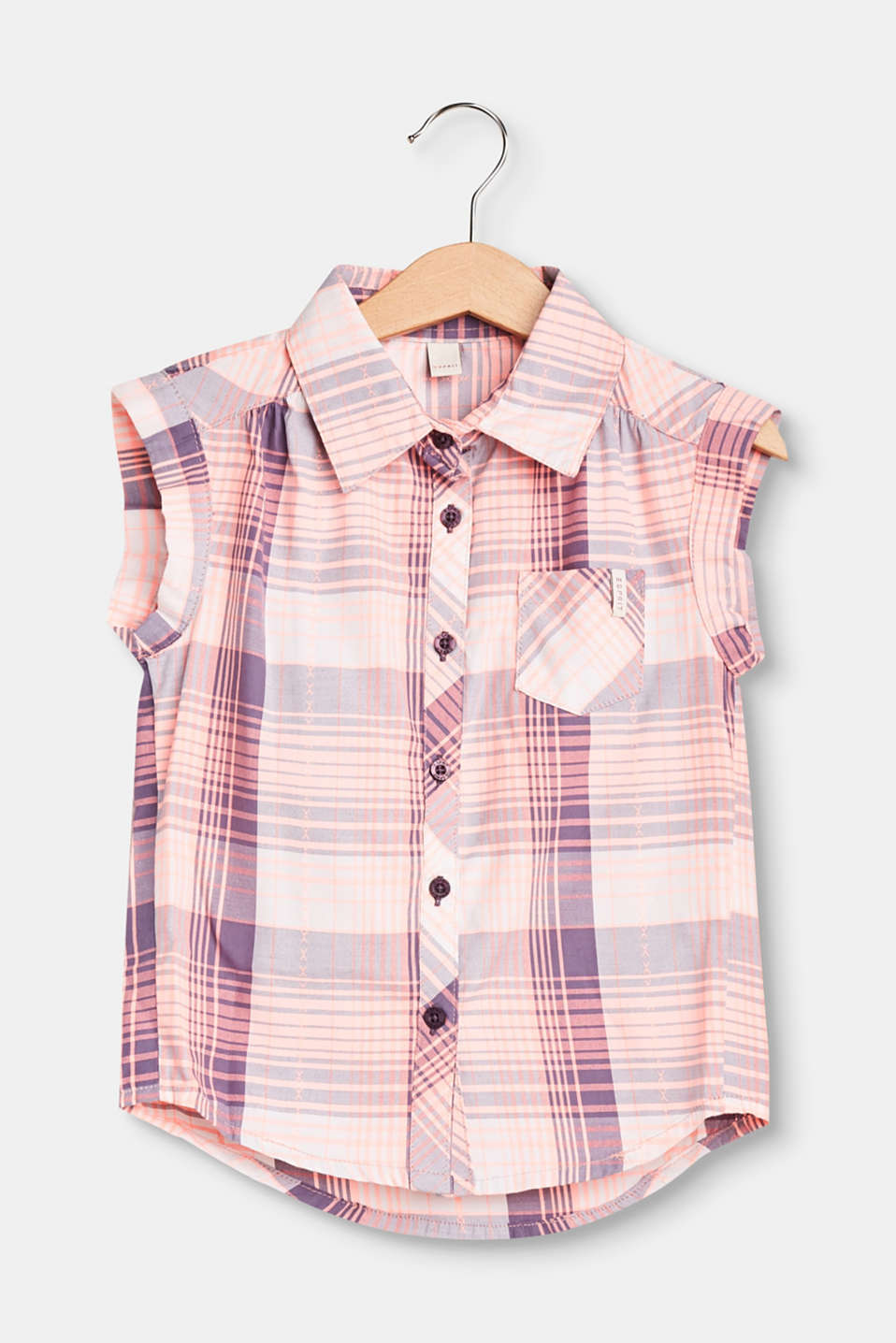 Esprit - Sleeveless check blouse in blended cotton