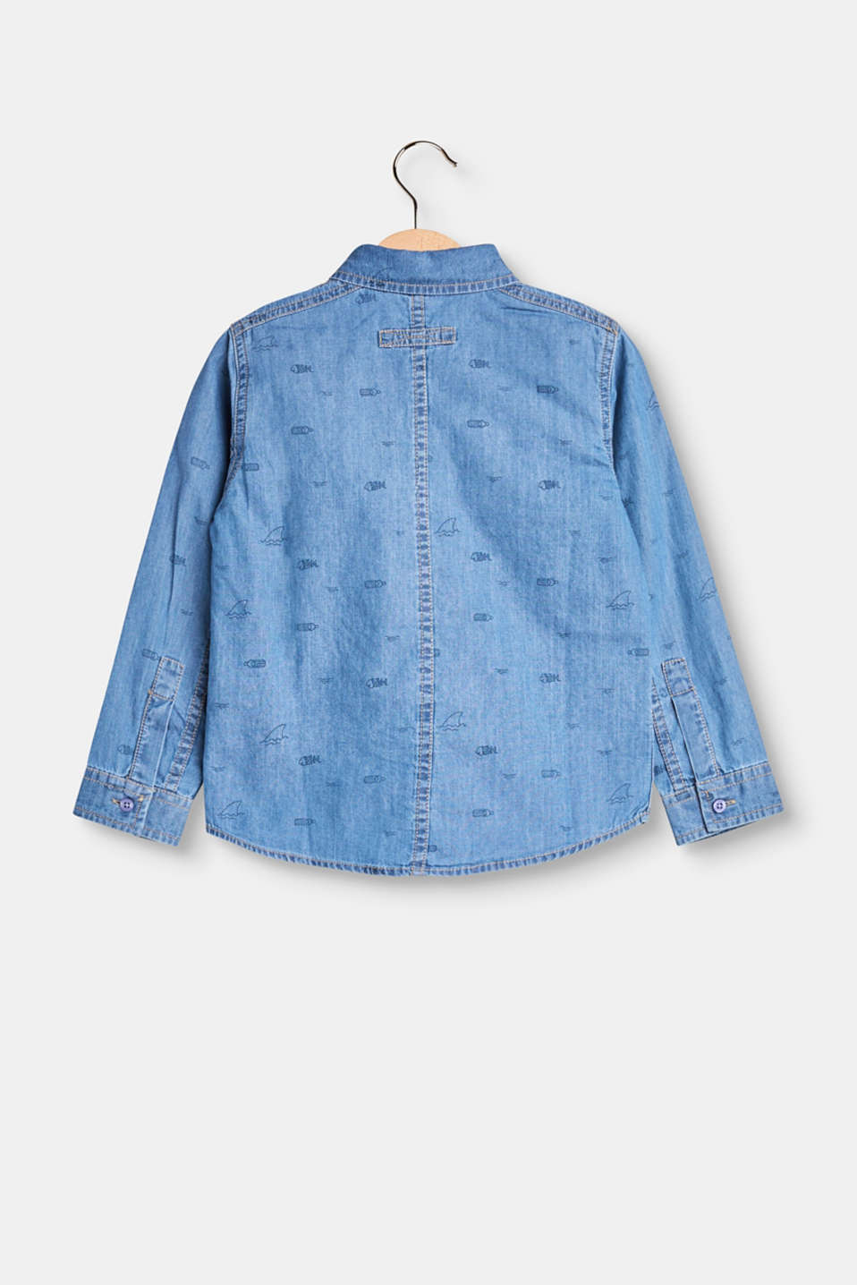 Denim shirt with an all-over print, cotton