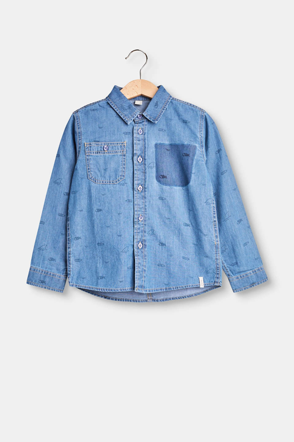 Esprit - Denim shirt with an all-over print, cotton
