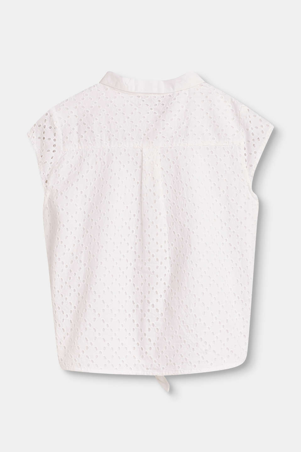 Cotton blouse designed for tying in a knot with broderie anglaise