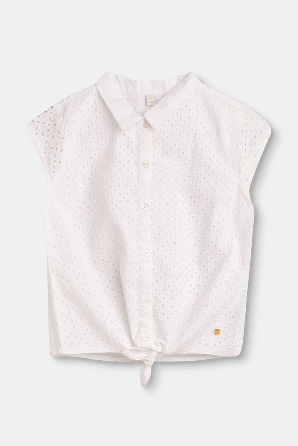 Esprit - Cotton blouse designed for tying in a knot with broderie anglaise