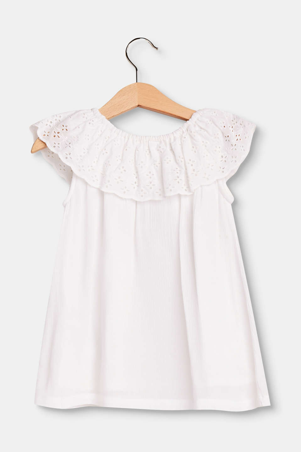 Soft Carmen top with broderie anglaise