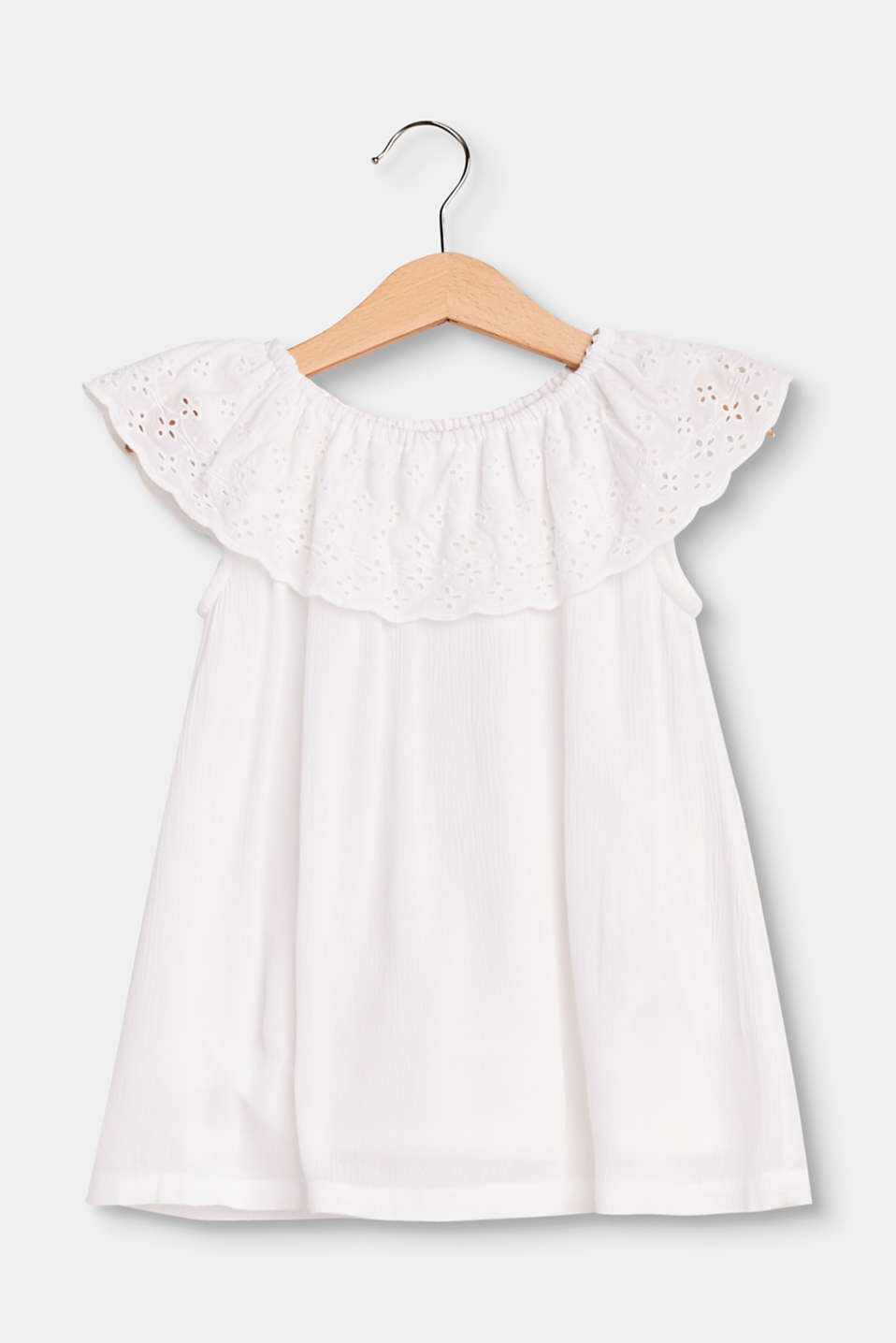 Esprit - Soft Carmen top with broderie anglaise