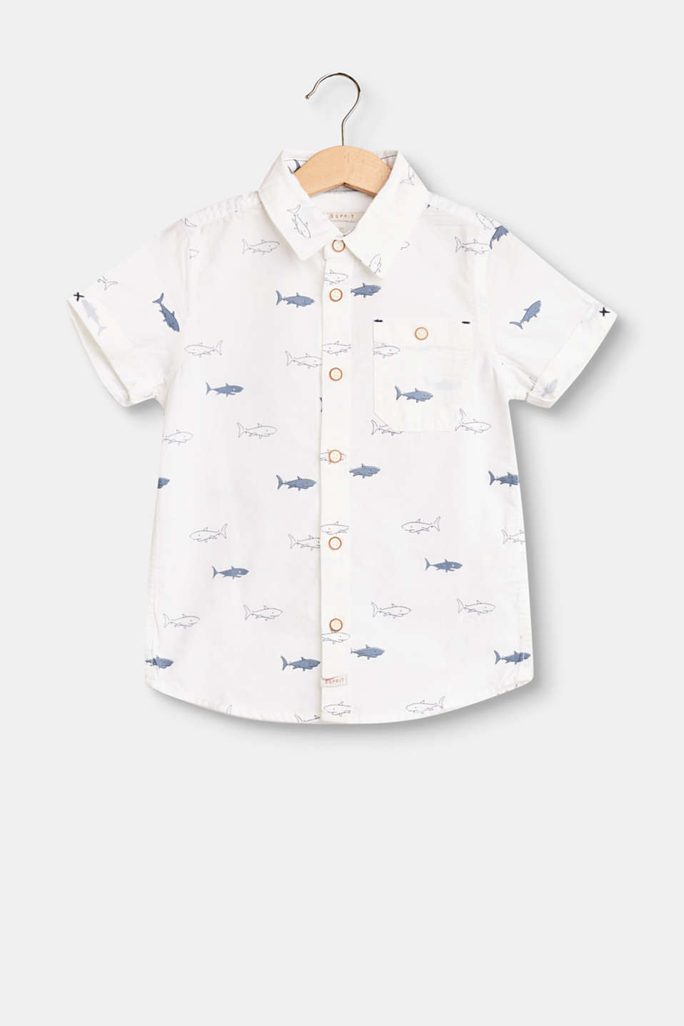 Esprit - Short sleeve shirt with a shark print, 100% cotton