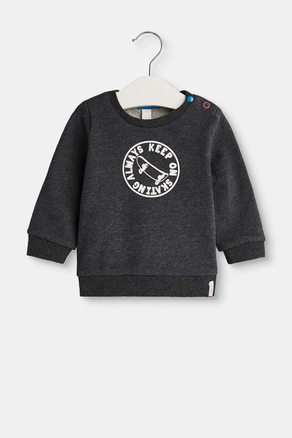 With a cool skater print! This sweet print sweatshirt is made of pure cotton.