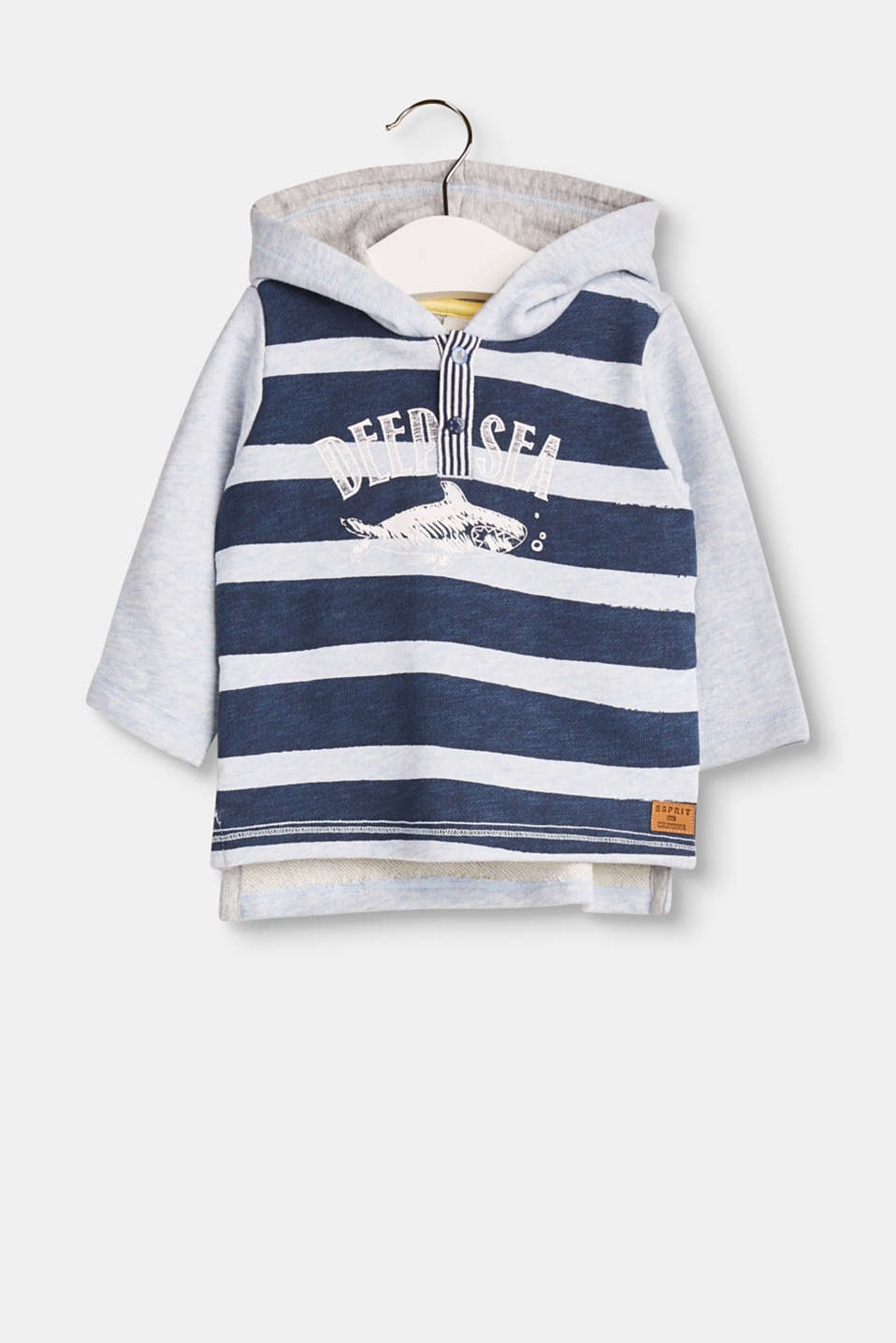 Deep Sea! This pure cotton hoodie is embellished with nautical stripes and a cool whale print.